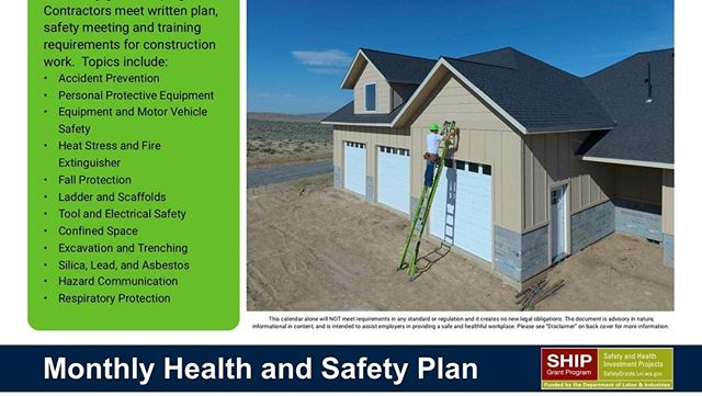 We have a new 2020 Monthly Safety Plan for Contractors.  Get your printed copy at Contractor Training Days or a downloadable copy at NICASAFETY.COM/SAFETY-PLAN.