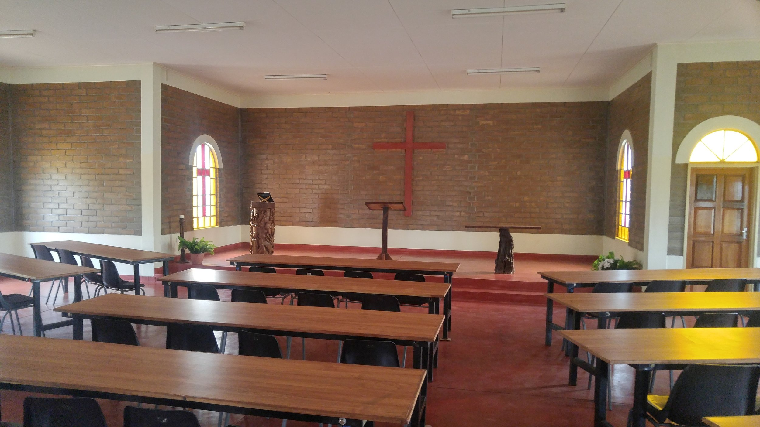An empty chapel awaits students before school starts.