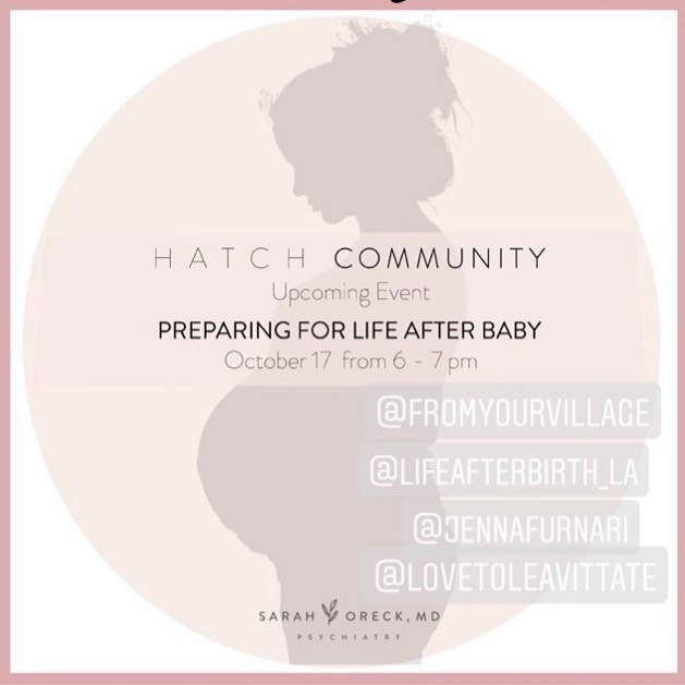 One week away from our FREE panel at Hatch in Brentwood. Come join us for fun food tasting, shopping, and an opportunity to ask all your questions to an amazing panel of postpartum experts. Please RSVP using the link in my bio. . . . Beautiful flyer by @sarahoreckmd