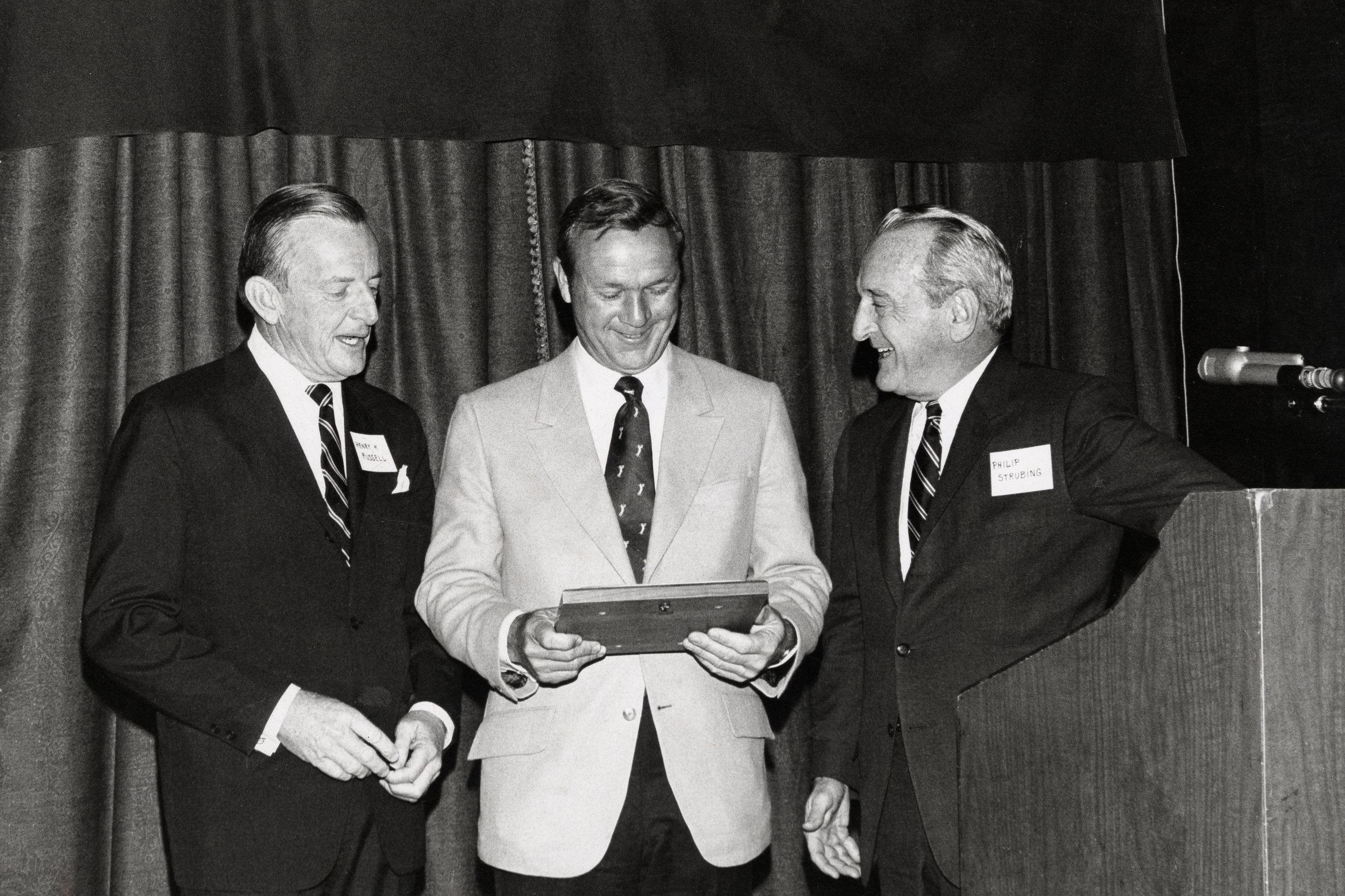Arnold Palmer receiving the Bob Jones Award from the USGA.