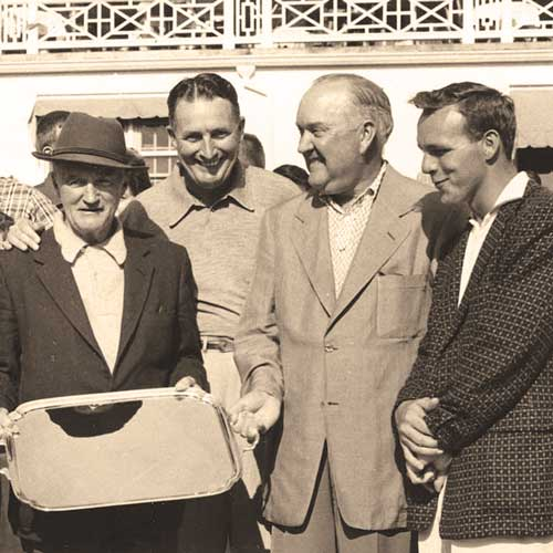 Arnold Palmer (right) with his pro-am partner Spencer Olin