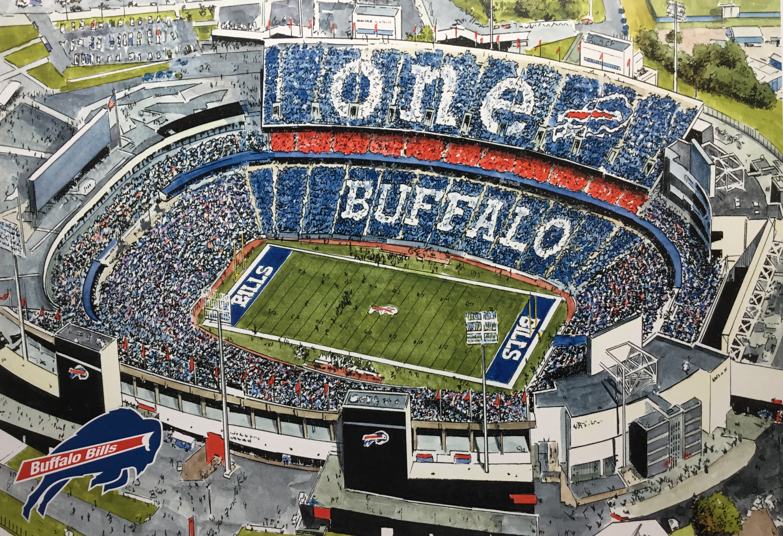 Buffalo Bills Ralph Wilson Stadium Limited Edition Pen And Ink And Watercolor Art Print By John Stoeckley Reflections