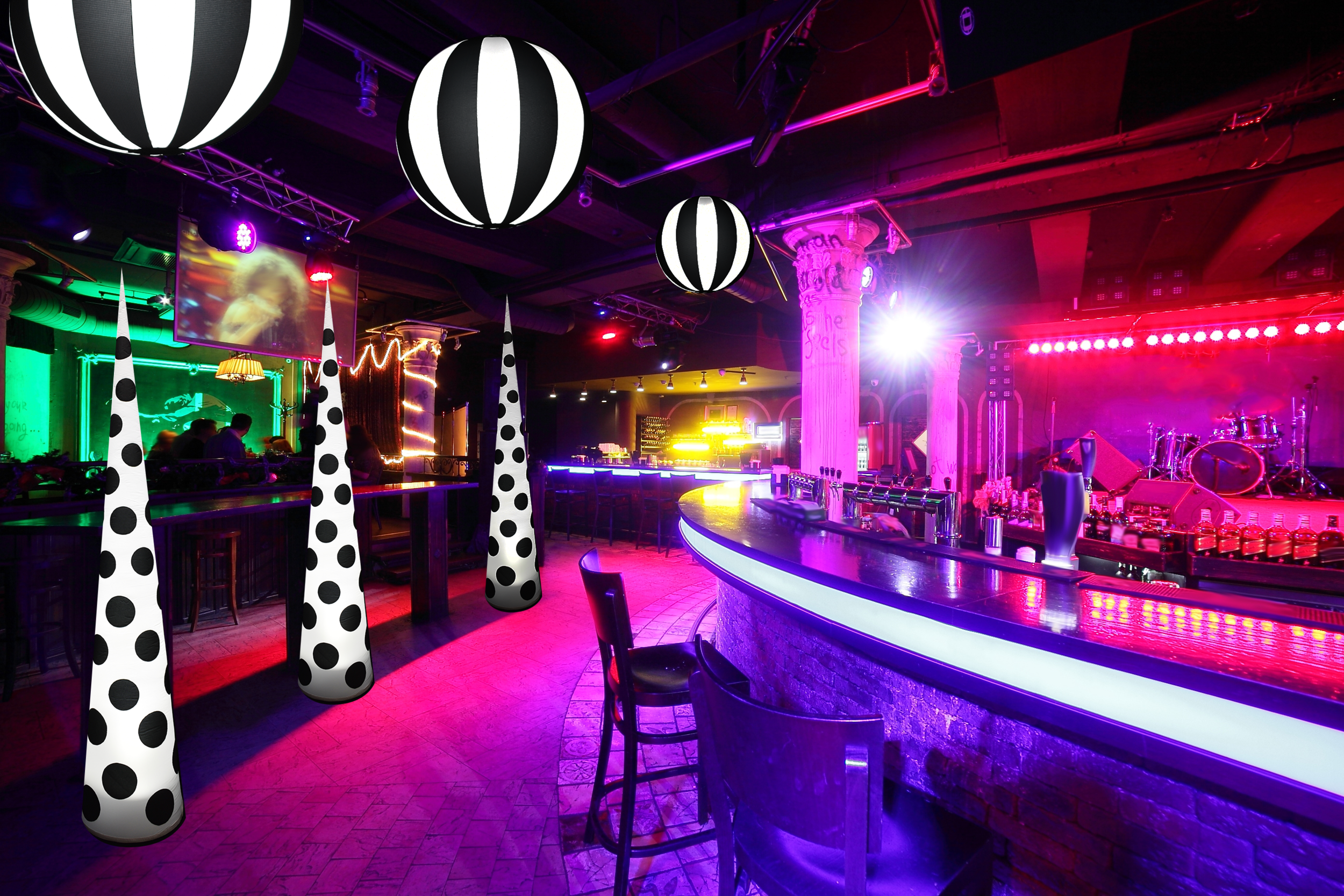 AirDD Black Tie Collection in night club with colorful lights