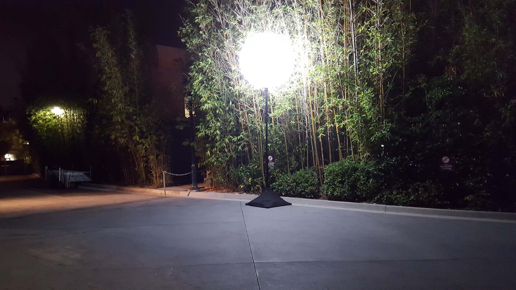Sphere Hi-Light on a Design A Stand Out, Outside lighting up a Path