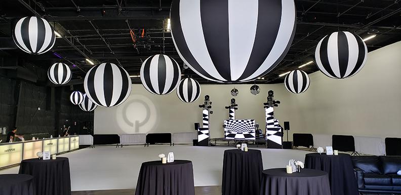 Black Tie Sphere Hi-Lights over a Stage
