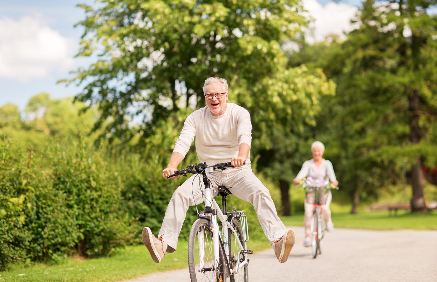 Happy patients on bicycles