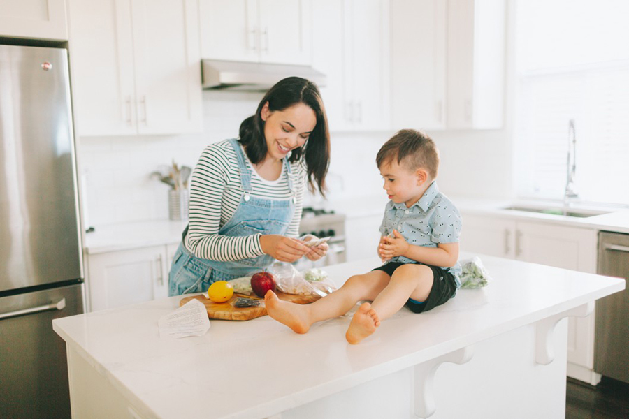 Mother & son in the kitchen
