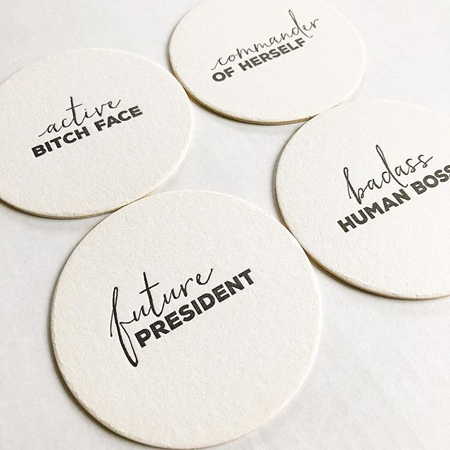Coasters! of the feminist variety. We love these sets of four and just posted them to the shop just for you. Link in profile.