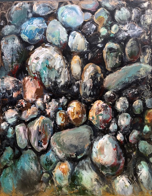 """Fascination with Rocks"" 30x24 Acrylic with Metallic's on Canvas."
