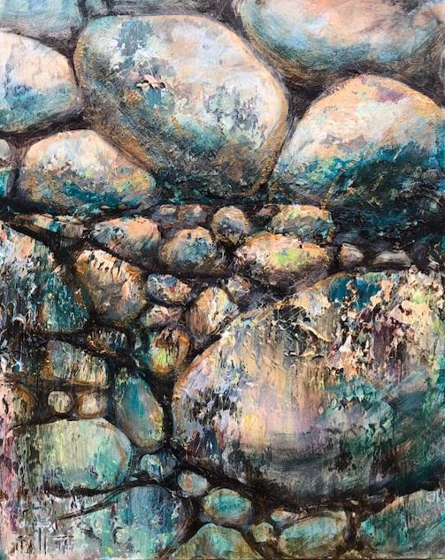 """Golden Stones"" 20x16 Acrylic with Metallic's on Canvas"