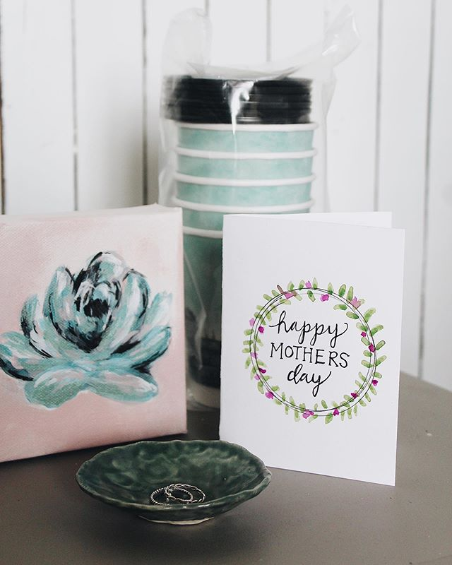 Pick up this sweet boxed collection for your mother! Original painting by Aina Jane, Handmade pottery dish by Katie Teesdale, specially designed coffee to go cups and handmade Mother's Day card by Aina Jane. Pick up this collection for $35 at l.louise Art and Home today!
