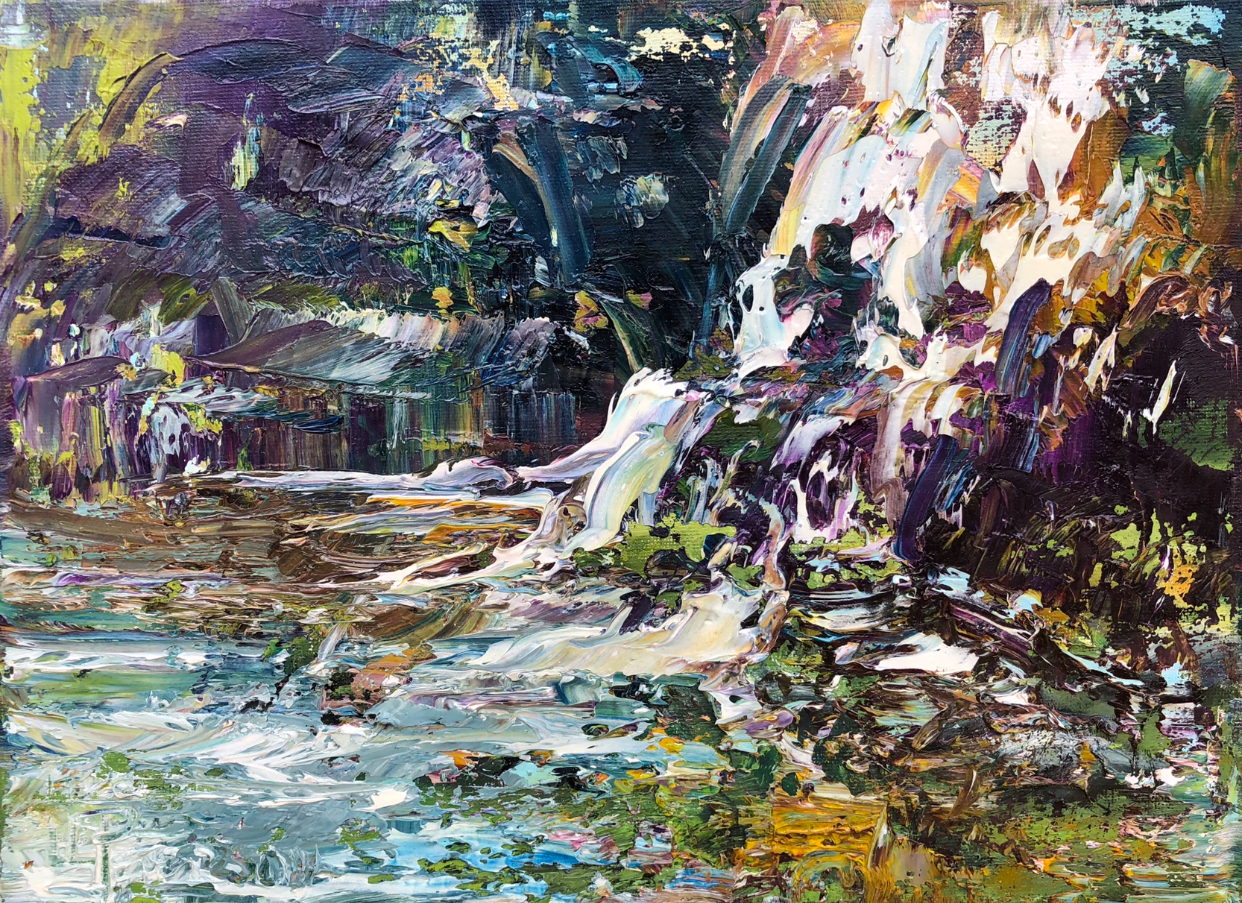 """Woodland Cascade"" 9x12 Oil on Canvas."