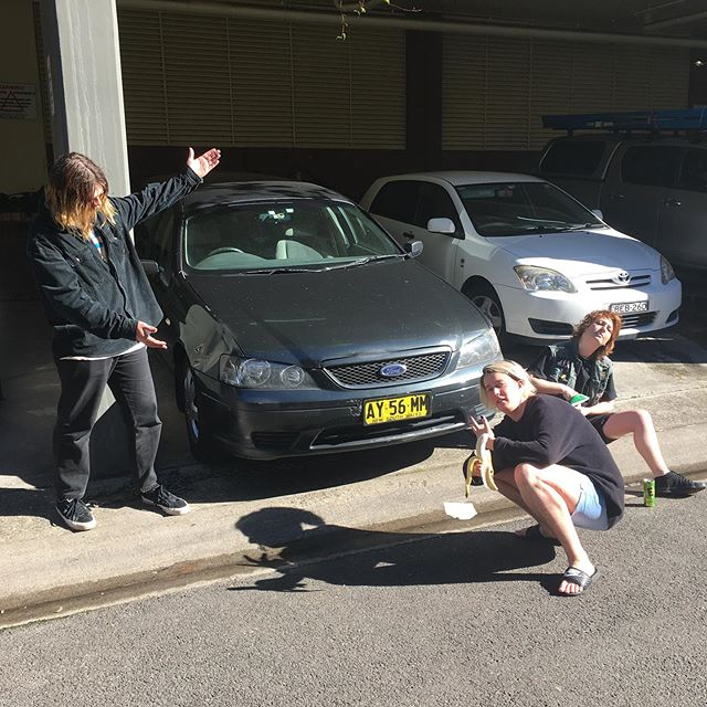 SCABZ appearance at @bigsound is brought to you by @doctormcdougall who leant us the most metal dad car ever to drive to brissy. Loving the CD's. ♨️