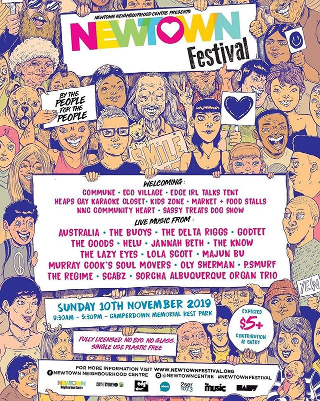 Newtown's shittest band playing at a not shit Newtown thing! The NNC does a lot of sick stuff for Newtown and the people that make it great. Very grateful to be on the receiving end of one of those opportunities and to know we'll be a part of raising money for those in need throughout the neighbourhood ❤️💜🧡💛🖤💚💙