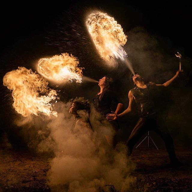 Lights, smoke and dragons! Photo by @kimtreks which was also featured on the Nat Geo daily dozen. Go Sis! #firebreathers #dragons #manafire #sammikat #derrickvermin #zivaonfire #fireartists #smokeandfire