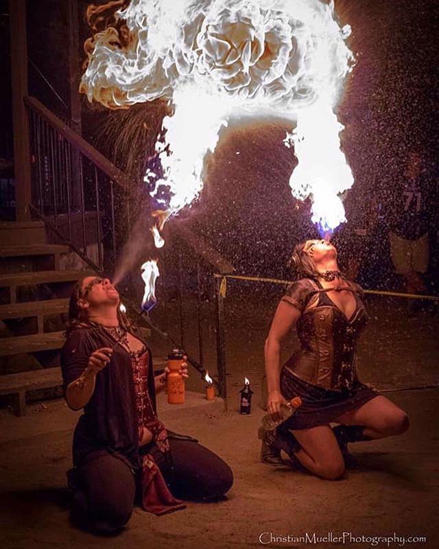 Steampunk fire 🔥 dragons at the Oakhurst Fall Festival with @ursissy12 and @ziva_onfire ziva_onfire Amazing photo by @christianmuellerphotography #Repost @christianmuellerphotography ・・・ . . . #dragonsbreath #steampunkfire #fireartists #ladydragons #manafire #zivaonfire #sammikat #firebreathers #firebreathing  #firearts #sierraarttrails #heartsoffire #artoberoakhurst #neverstopexploring #yosemiteart #mariposart #yosemitenow #oakhurst #oakhurstca #basslake #basslakeca