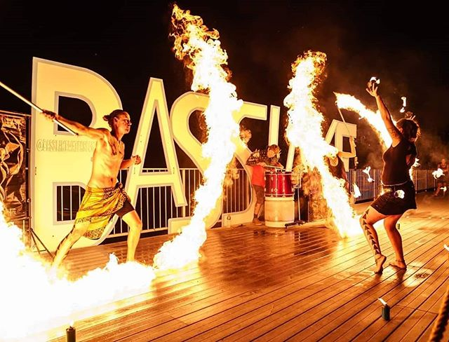 This Saturday come check out a Tribal Fire and Light Show @basslakewatersports. It's gonna get hot! Photo by @highmountainimages Lights by @platform_studios  #manafire #tribalfire #fireandlightshow #fireperformers #fireshow #fireartists #drumsandfire  #lycopodium #basslakeca #firedance #heartoffire