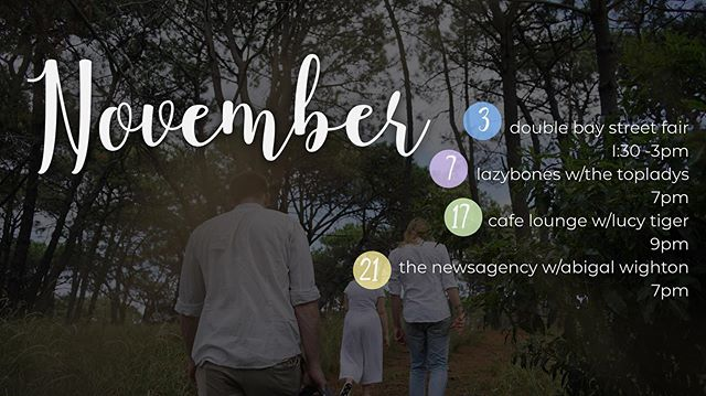 ✨ NOVEMBER GIGS ✨ We've been busy recording our new album but we miss playing for you all! We've got some exciting gigs coming up this month. Check out our Facebook page for the individual events! See you there 💕 ... ... #livemusic #sydneymusicians #musicians #band #music #independentartist #altrock #folk #pop #songwriters #gigguide #sydneygigs #surryhills #heirs