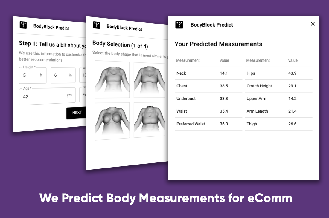 "Fit Prediction - We have an online widget that predicts a ""3D avatar"" of your prospects & matches all those measurements to your tech packs for a better fit."