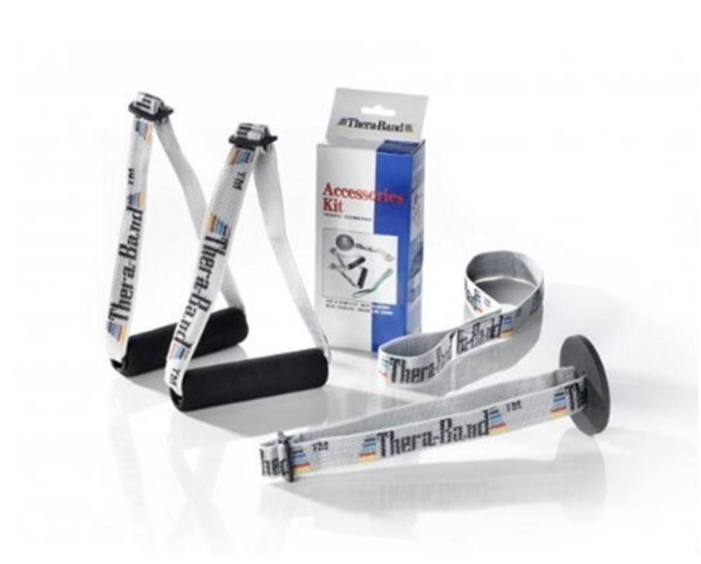 Theraband Elastic Resistance Bands and Tubing Overdoor Accessories Kit