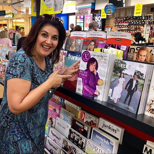 There she is. The incredible @wordsofbek Becky Paroz gracing the newsstands of Australia. Happy 2nd birthday @ymagglobal 🥳🥳🥳🥳🥳