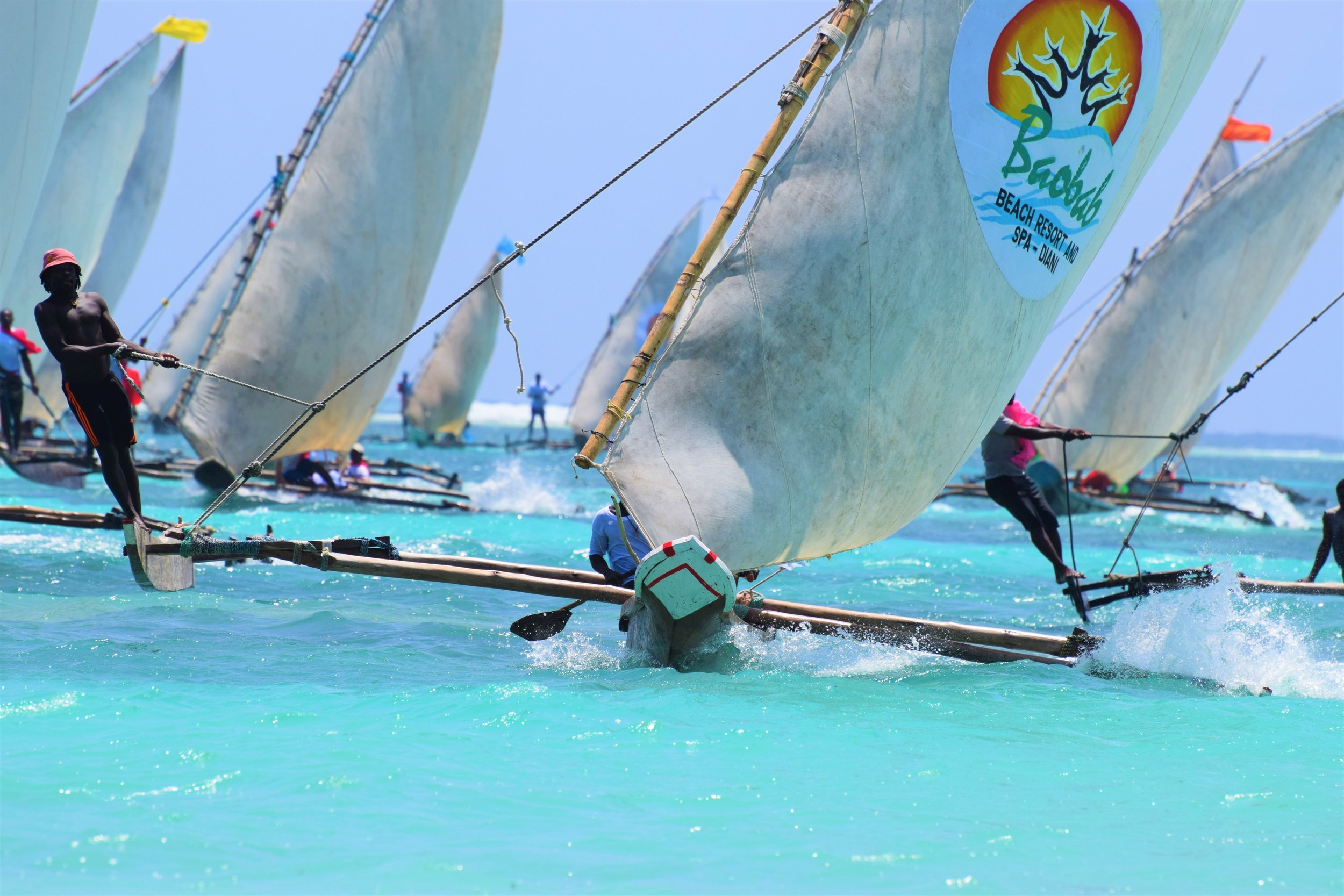 The boats in full sail upwind during the race. Diani regatta is a south coast kenya annual event.