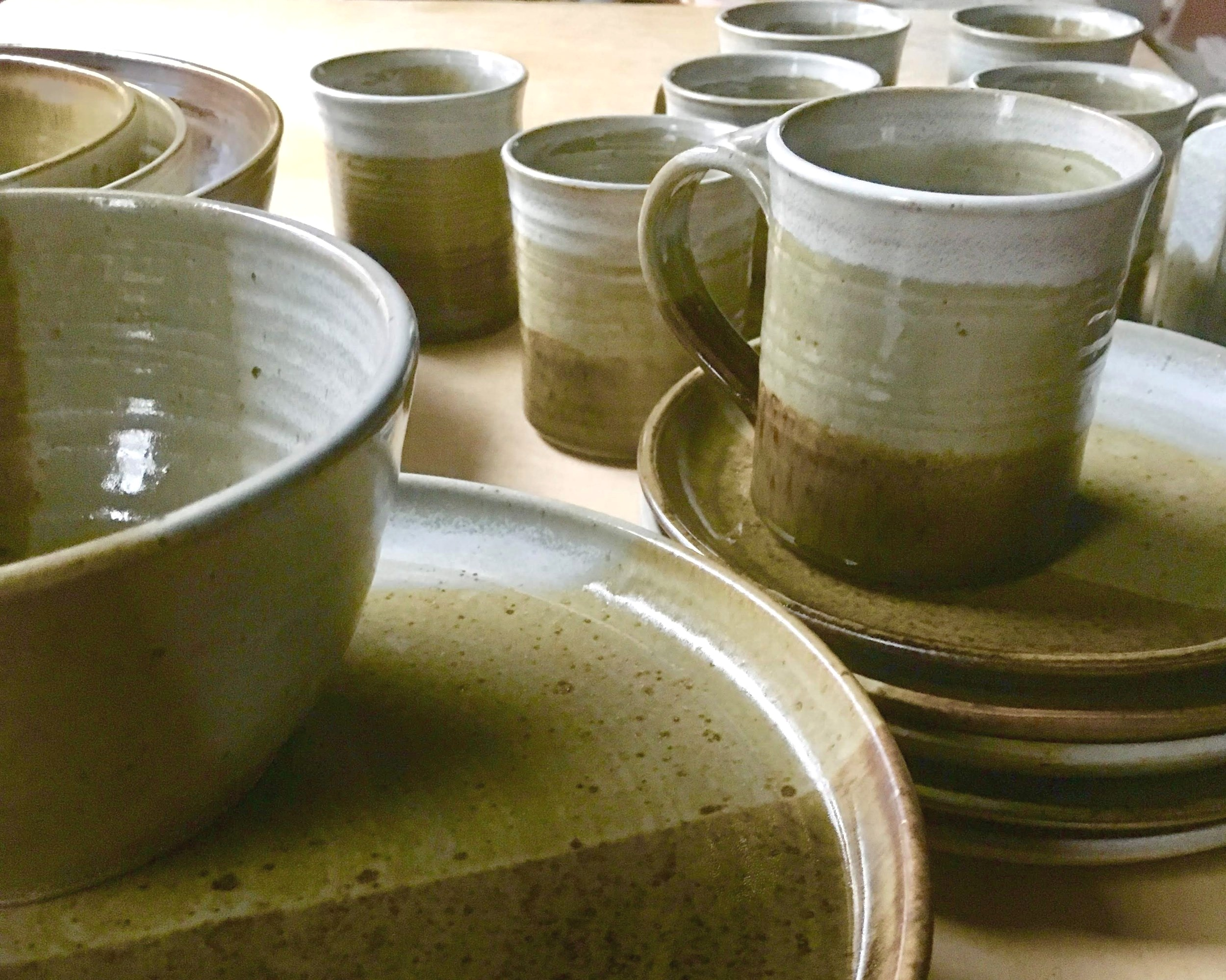 PLACE SETTINGS - Starting at $95, a place setting usually includes a dinner plate, a lunch plate, a bowl, and a mug. Orders can be customized based on your preference of style for each item.