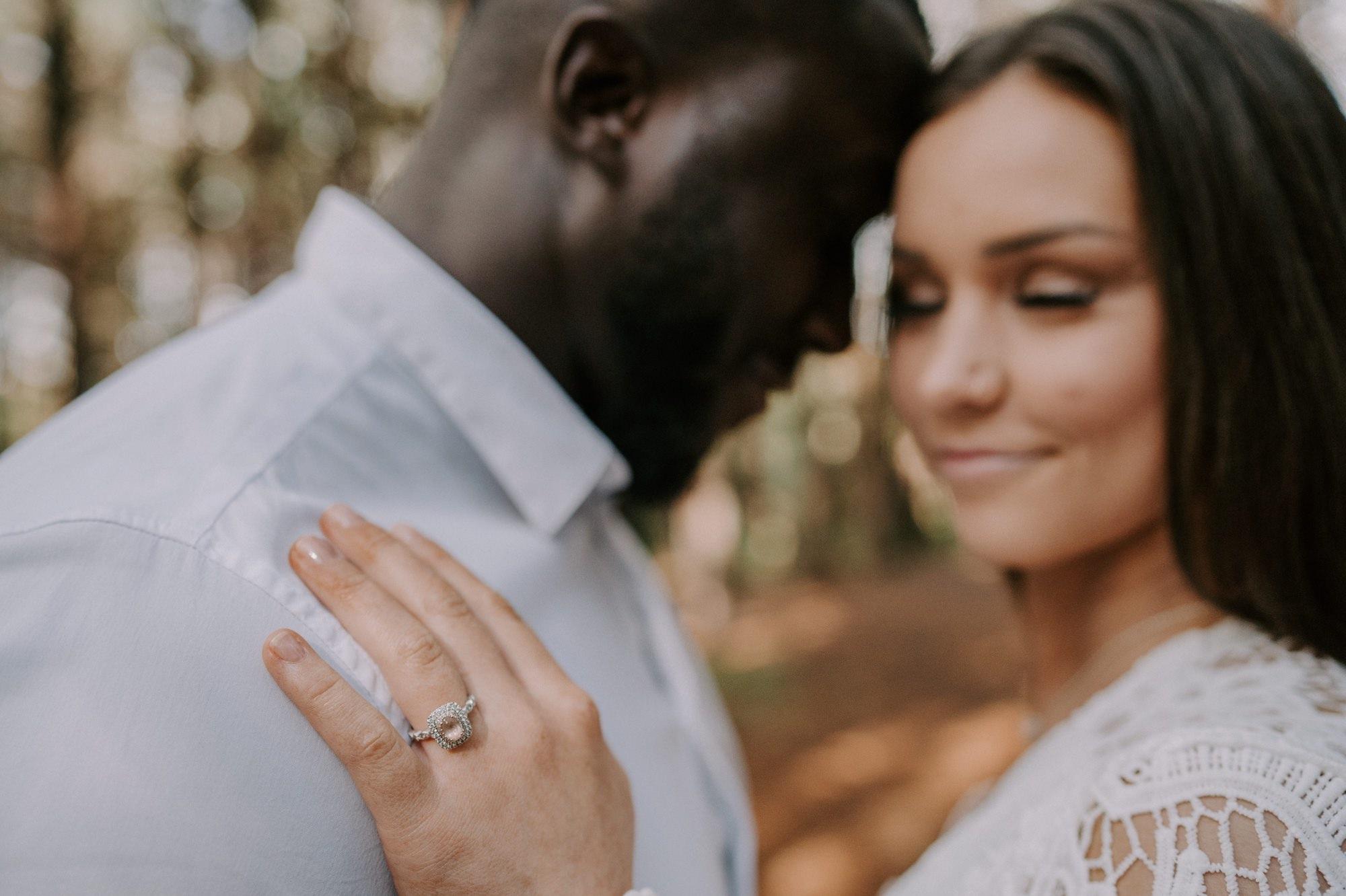 Close up engagement ring shot at burr oak woods