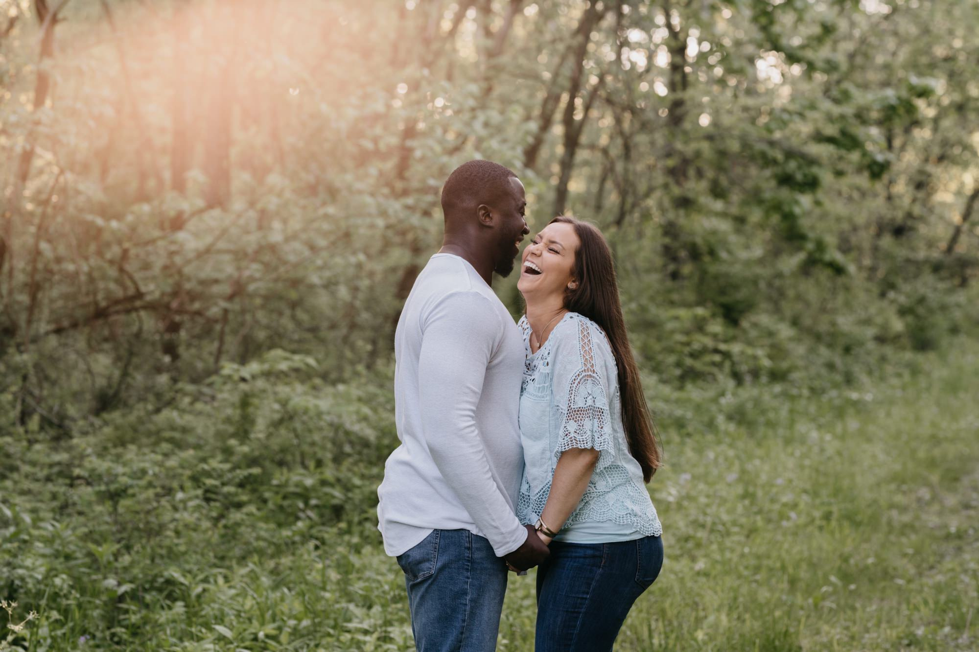couple laughing together at burr oak woods