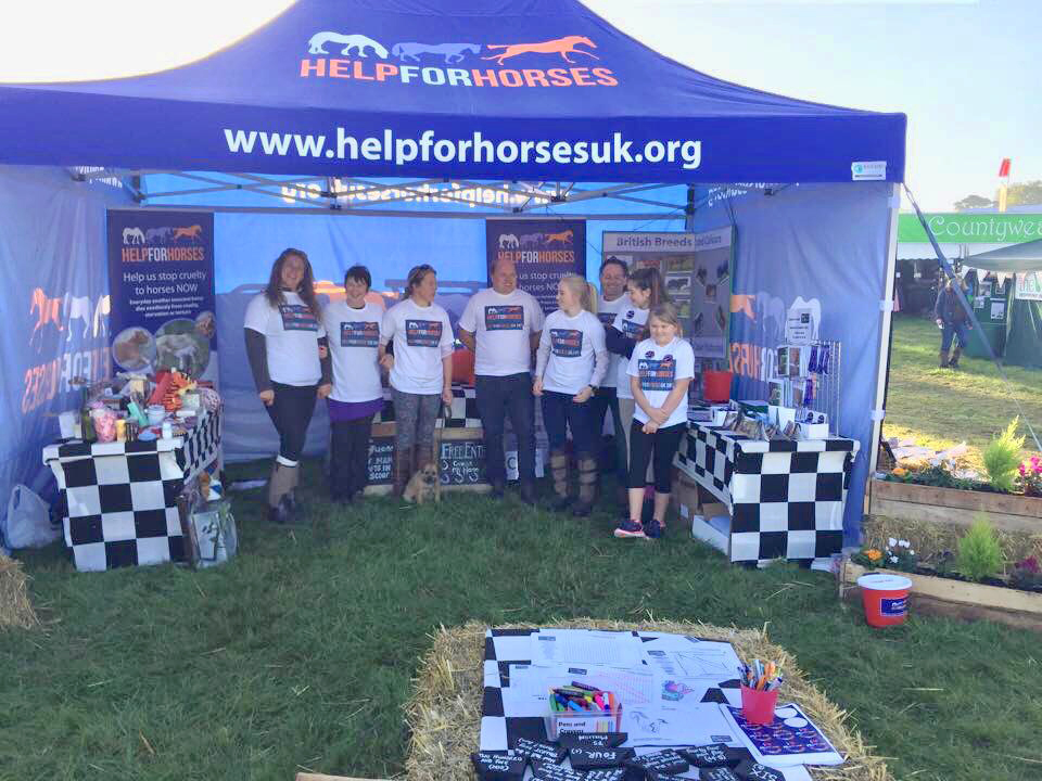 Help for Horses UK charity at the Southwell Ploughing Match raising awareness about horse welfare issues