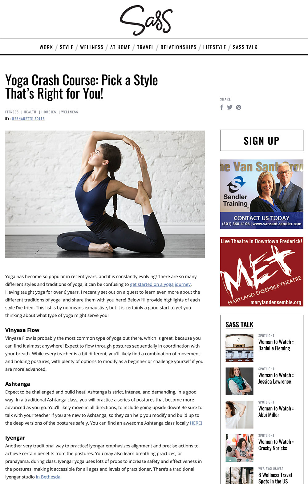 Article about Yoga styles by Bernadette Soler on Sass