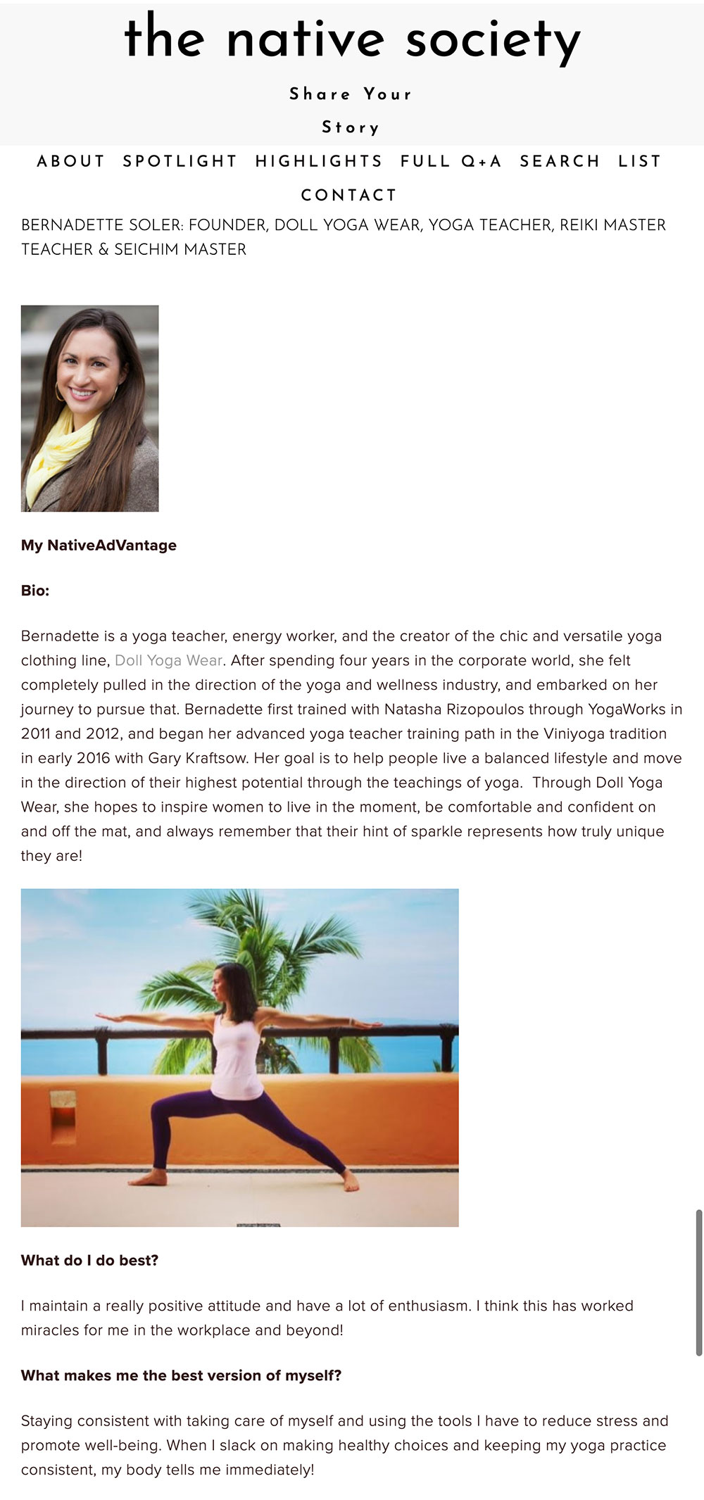 Bernadette Soler profiled by The Native Society directory