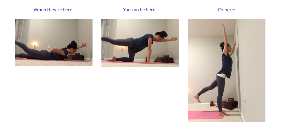 Modified yoga position to keep you off your belly!