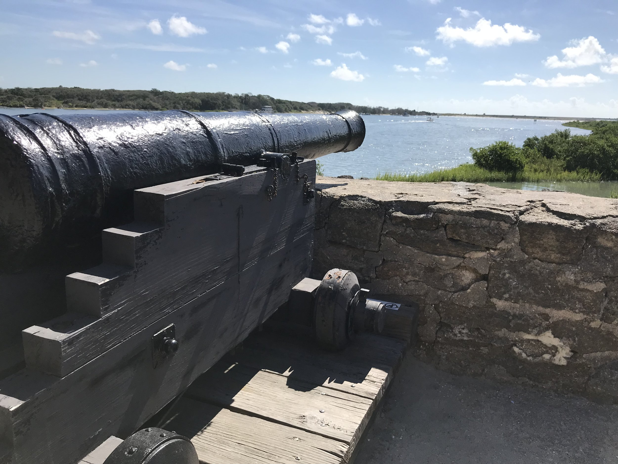 A view of the Matanzas Inlet with Spanish canon poised to take out any entering vessels. Photo by Jeff Mallinson.