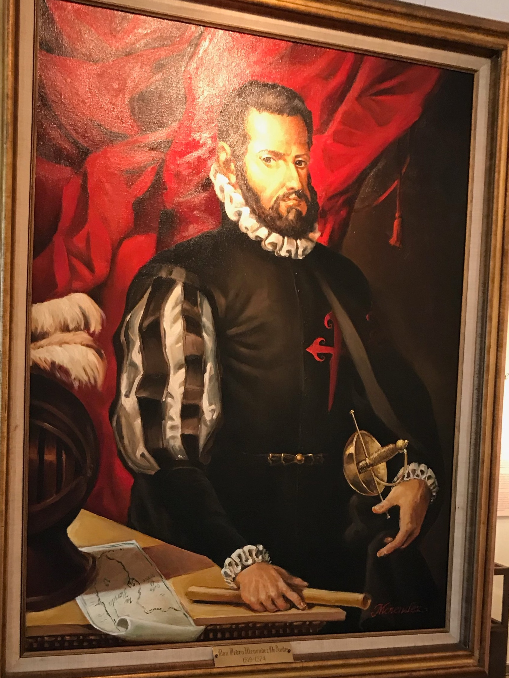 Pedro Menendez de Avilez, as painted by a living descendent and housed in the  Mission Nombre de Dios Museum, St. Augustine, FL
