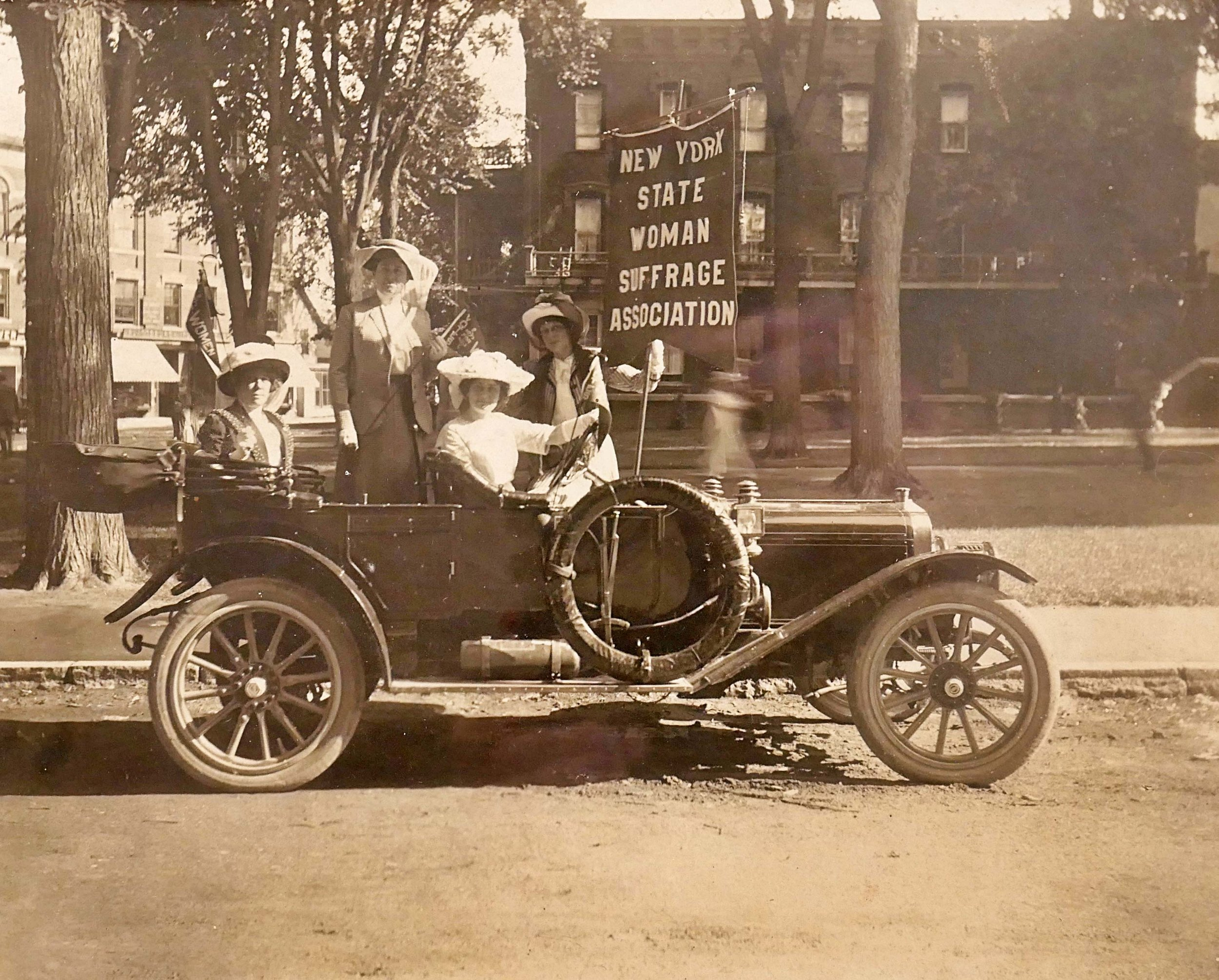 New York State Suffrage Association In Car