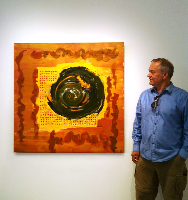 """Ramon with """"The Bees of The Invisible"""" at GPAG Gallery, Gibsons, BC"""