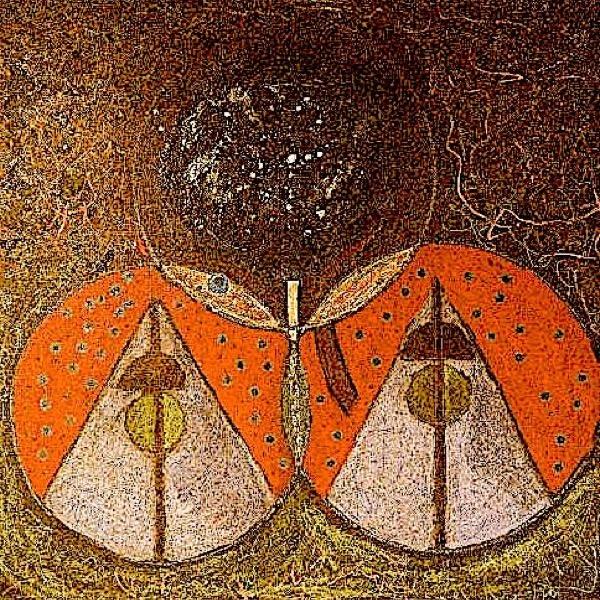 "The Alchemist's Dream . Acrylic, oil stick, oil pastel, pen on canvas. 36"" x 36"""