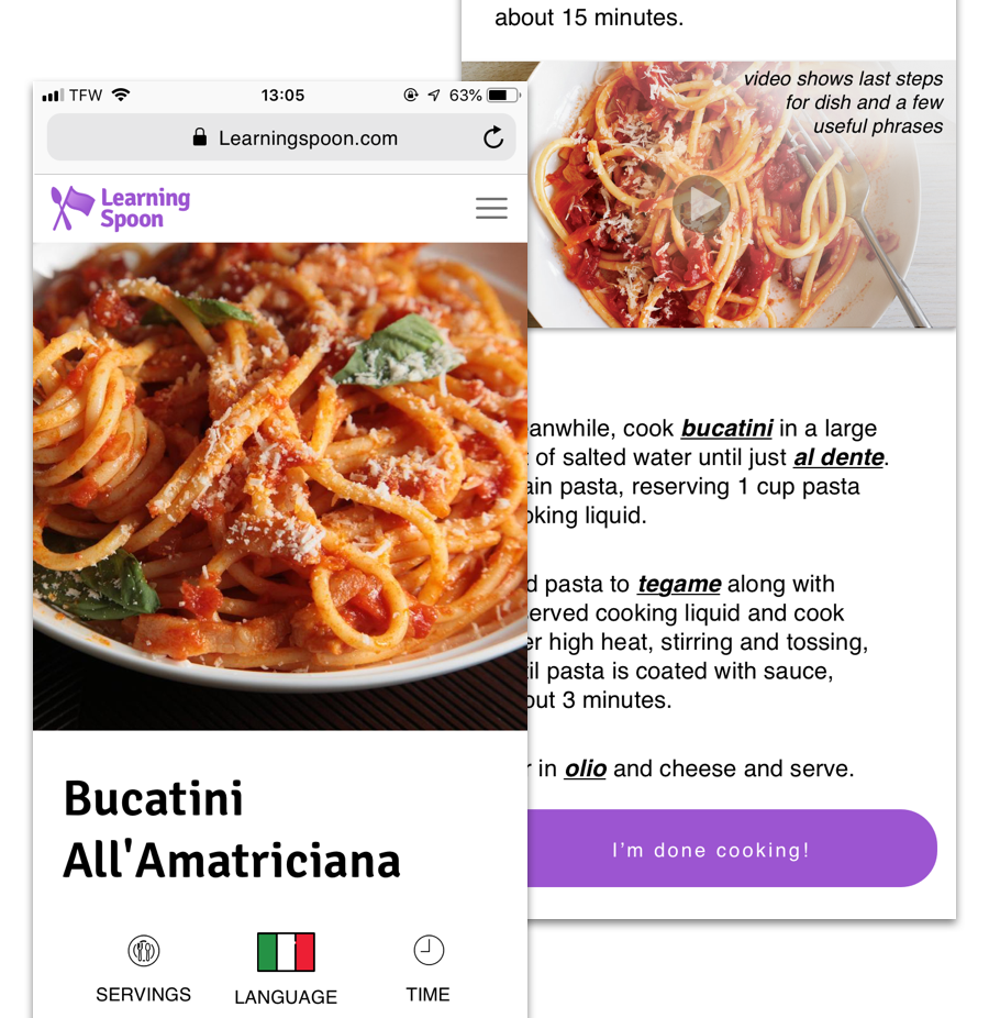 Learning spoon - Cuisine and Language Case Study