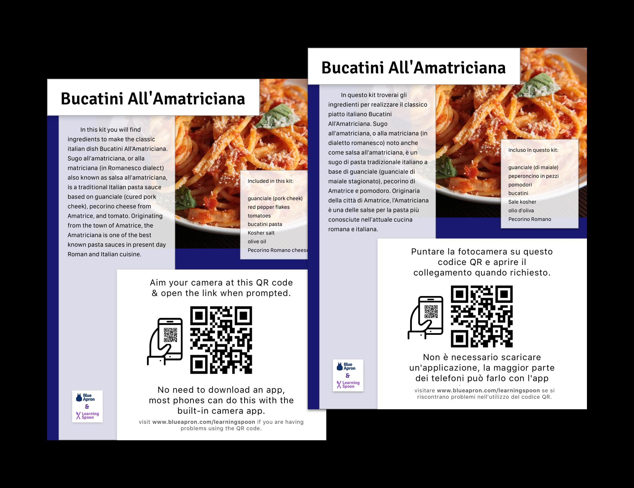 recipe card in English and Italian