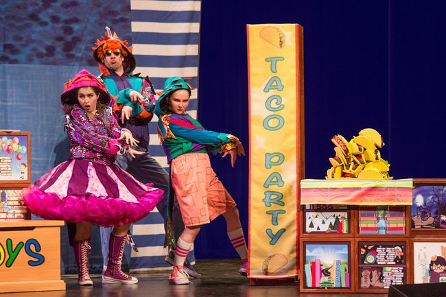 Alie B. Gorrie, Martin Landry and Sara Glancy in  Dragons Love Tacos and Other Stories;  Theaterworks USA.