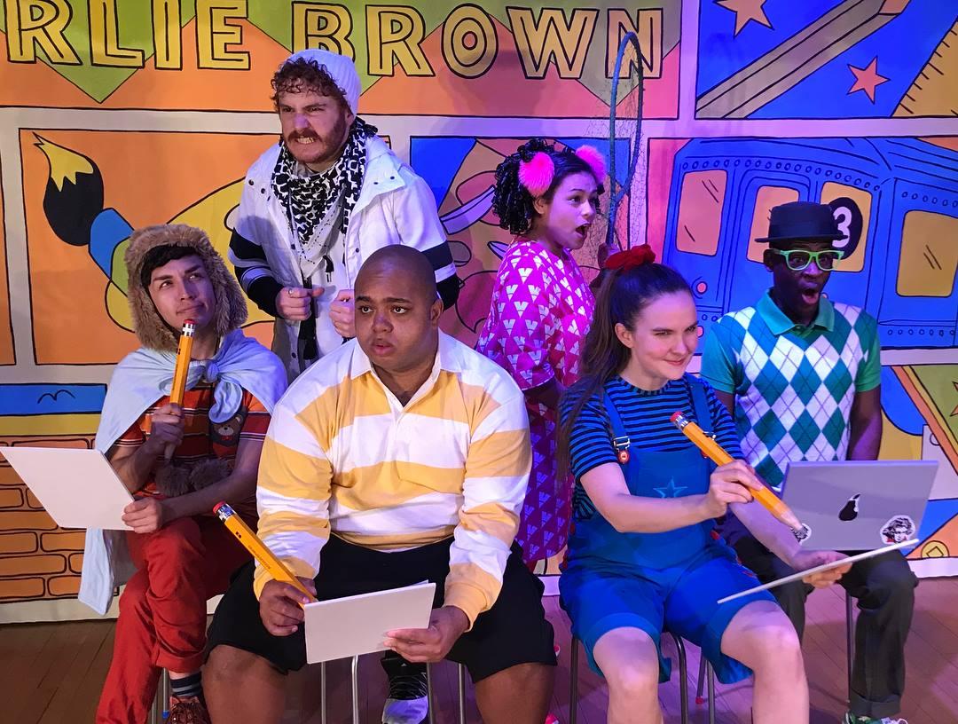 Rudy Ramirez, Max Nussbaum, Jeffrey Hyman, Christina Ramirez, Sara Glancy and Evan Walker in  You're a Good Man, Charlie Brown;  Inside Broadway.