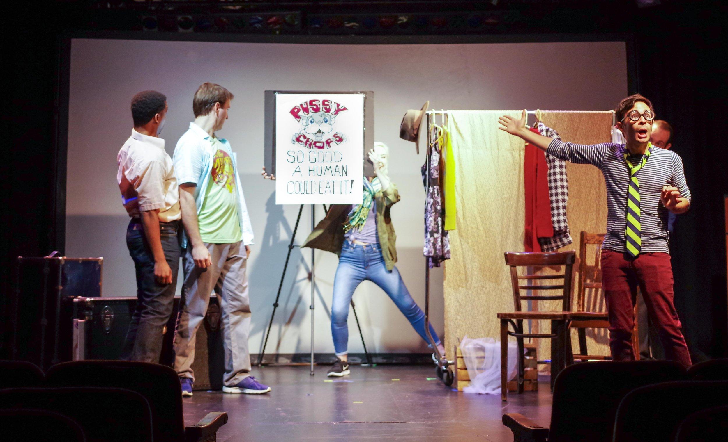 DeLance Minefee, Dave Droxler, Maggie Carr, and Paul Pakler in  Walken on Sunshine;  New York Fringe Festival. Photo: Tim Try