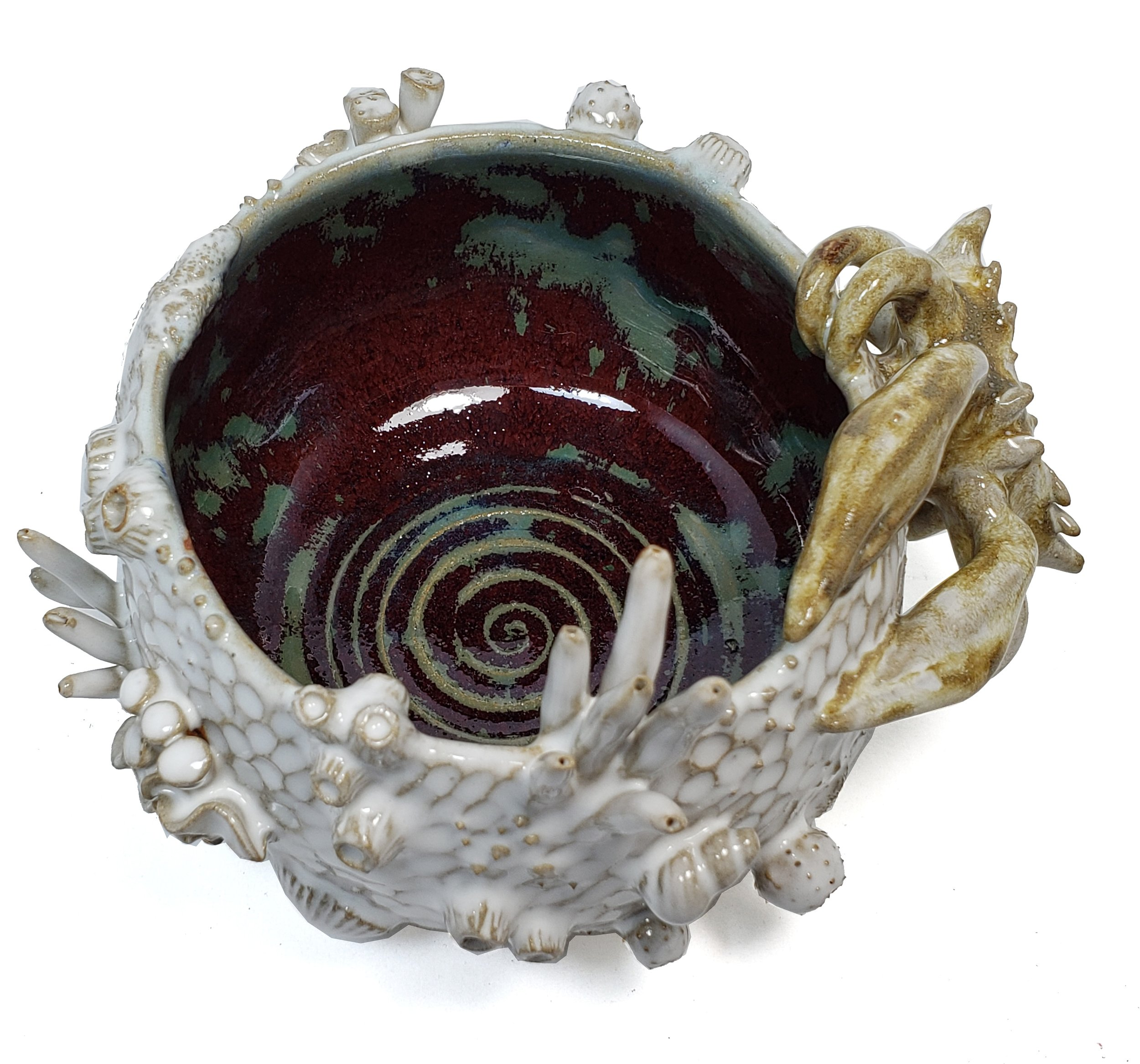 Sealife - Bowl With Crab DetailCone 6 StonewareOxidization