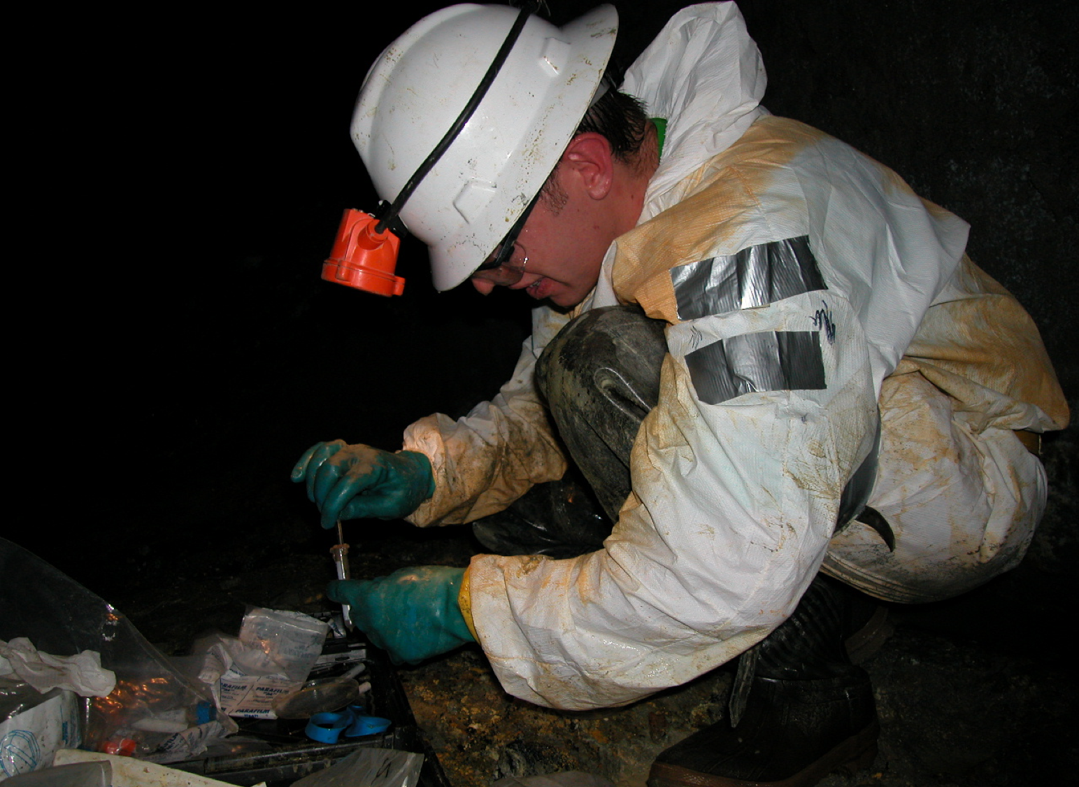 Sampling acid mine drainage biofilms with the Richmond Mine near Redding in northern California (USA) during my postdoctoral research period.
