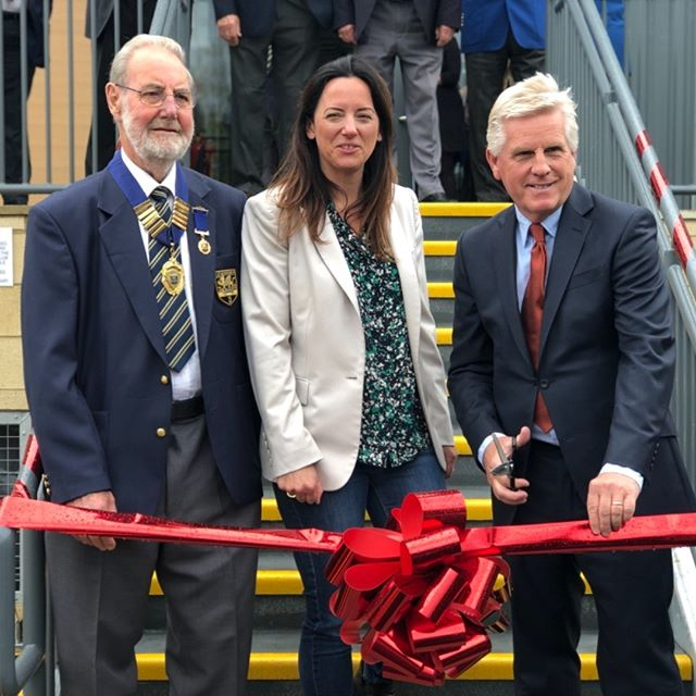 CUTTING THE RIBBON AT DESBOROUGH BOWLING CLUB. Thanks to Steve Rider, John Bucknell and Tamra Booth. #wrenconstruction #selfdelivery #wren #desboroughbowlingclub