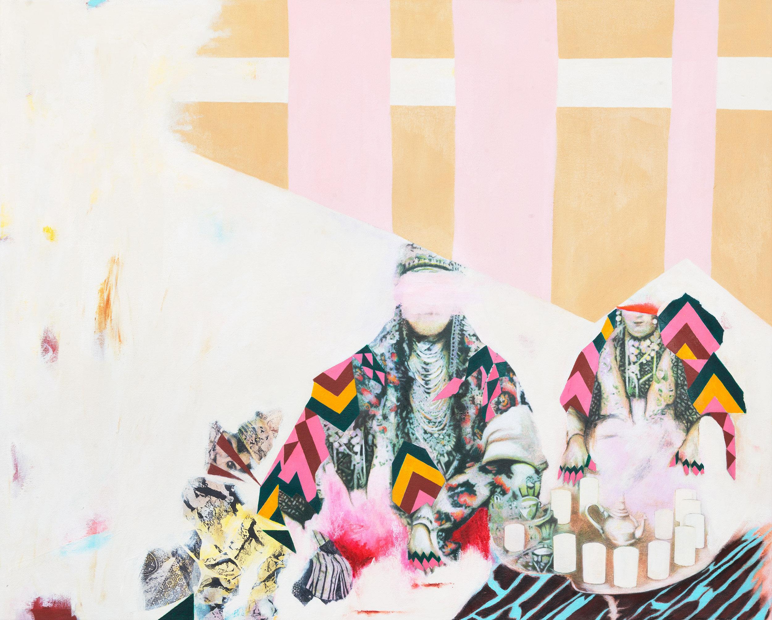 Tea Party 2019 Acrylic, mixed medium on canvas  80x100 cm