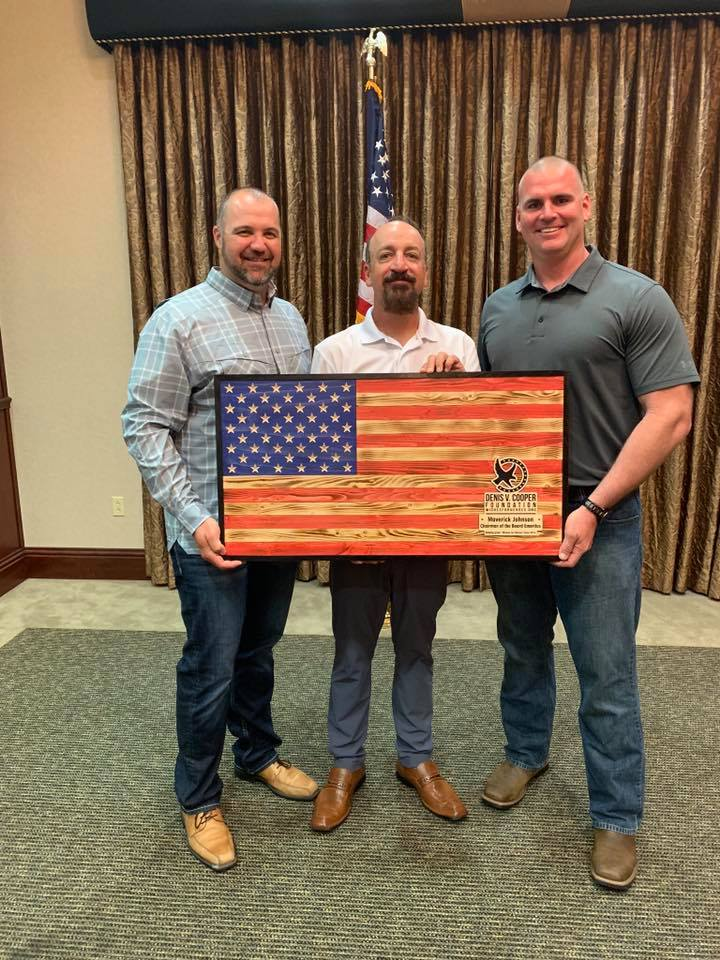 """Simple Creations proudly donated 18 custom made American flag art pieces to some of the sponsors and board of the Denis V. Cooper foundation at the annual """"Red, White, and Brew"""" event in Lakewood Ranch, Florida on June 8, 2019."""
