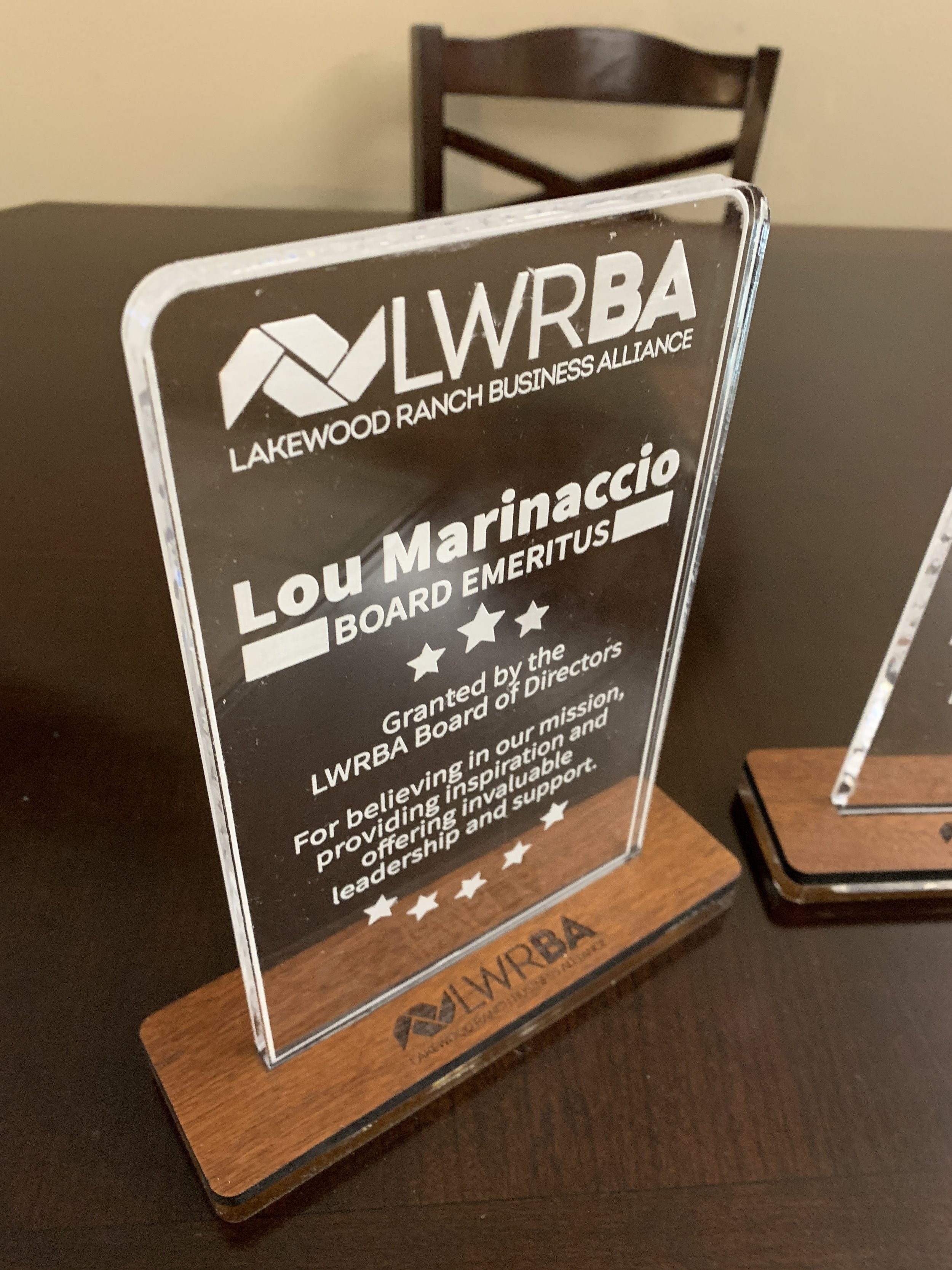 Acrylic Recognition Award and Custom Wood Base ($40-125)