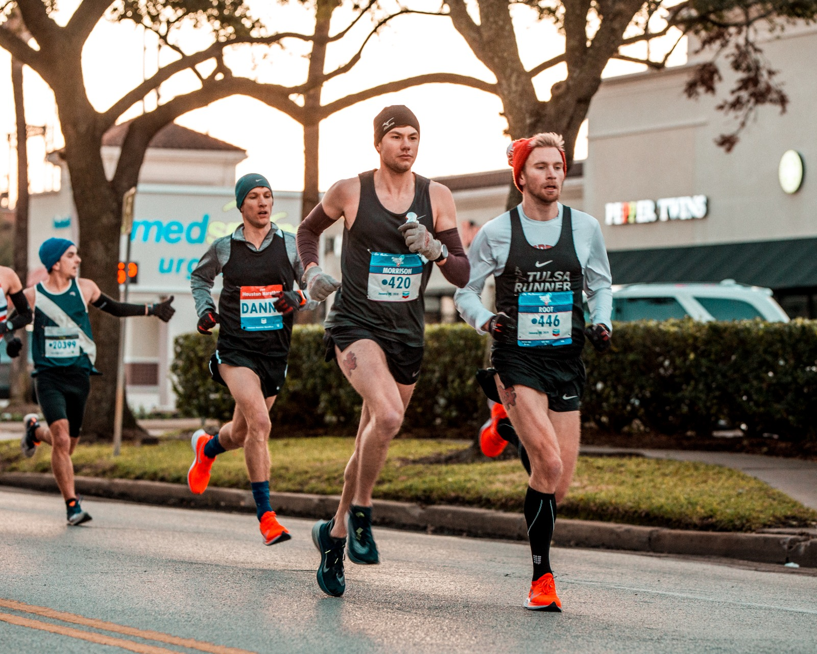 Travis and I ran together the entire way at the Houston Marathon